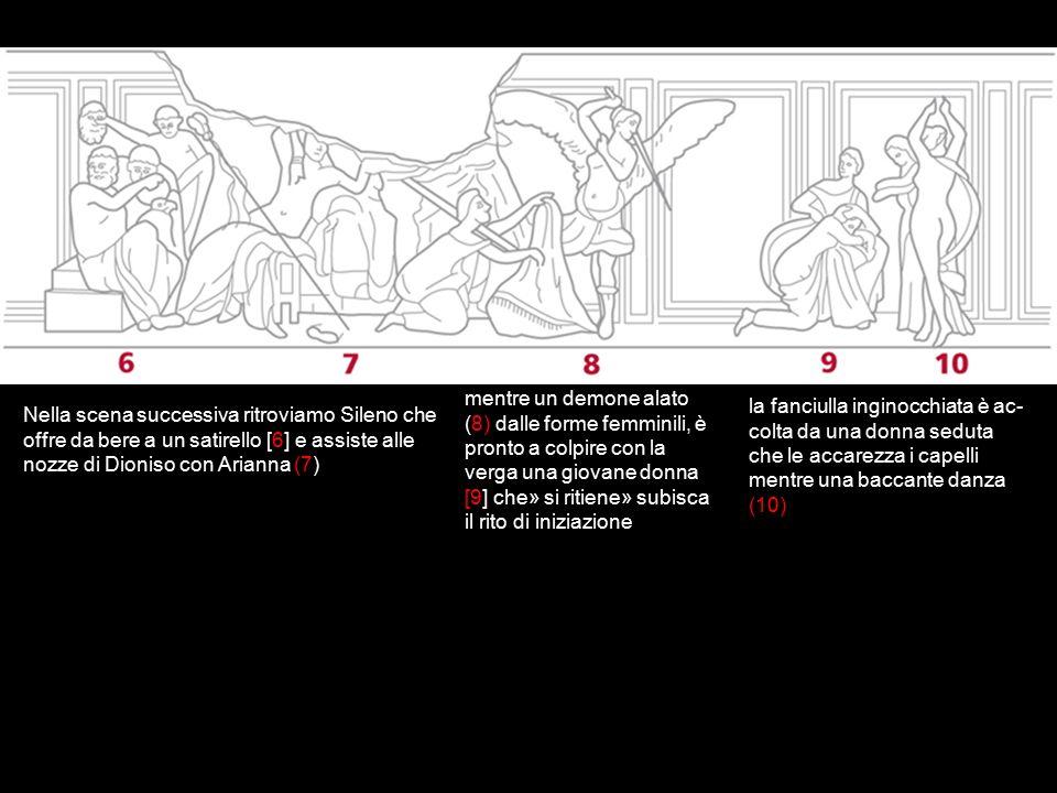 mentre un demone alato (8) dalle forme femminili, è pronto a colpire con la verga una giovane donna [9] che» si ritiene» subisca il rito di iniziazione